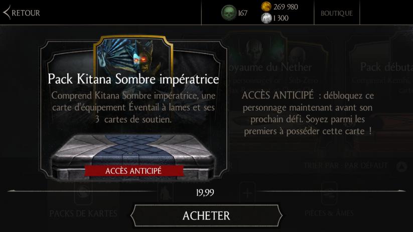 Accès anticipé Kitana Sombre impératrice : Pack Kitana Sombre impératrice