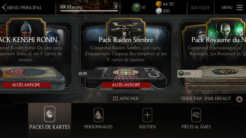 Mise à jour 1.6 : Pack Raiden Sombre dans la Boutique