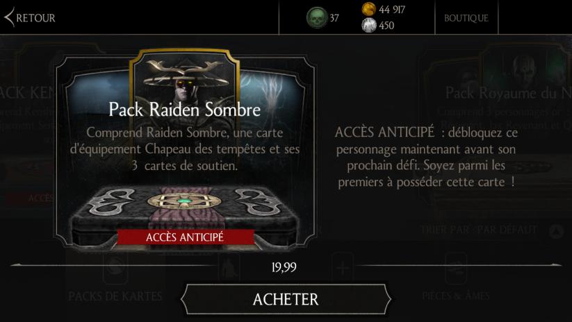 Mise à jour 1.6 : Pack Raiden Sombre à 19€99