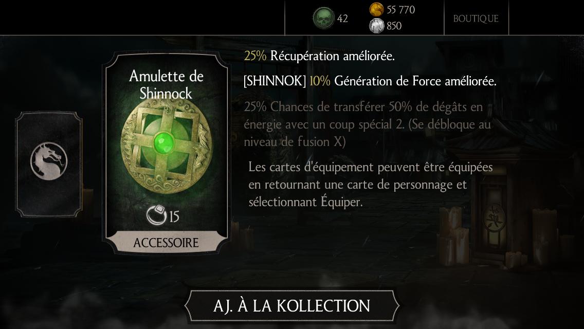 Amulette de Shinnok fusion 0