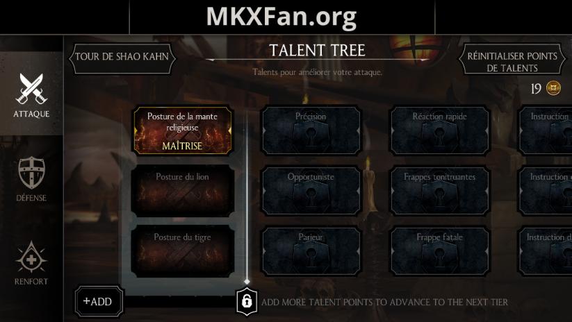 Arbre à talents : talent maîtrisé