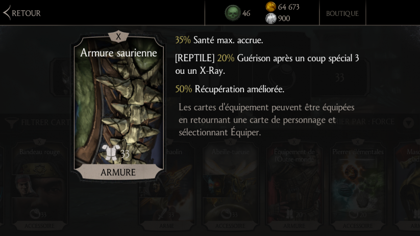 Reptile : carte d'équipement Armure saurienne
