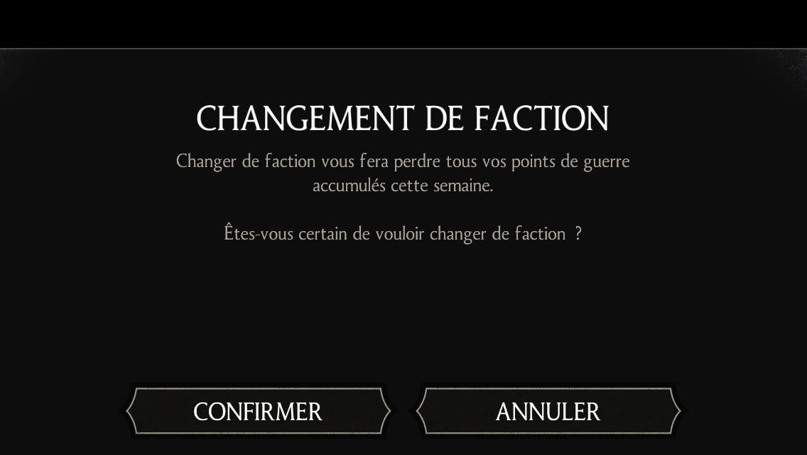 Changement de faction : Profil > Changer de faction