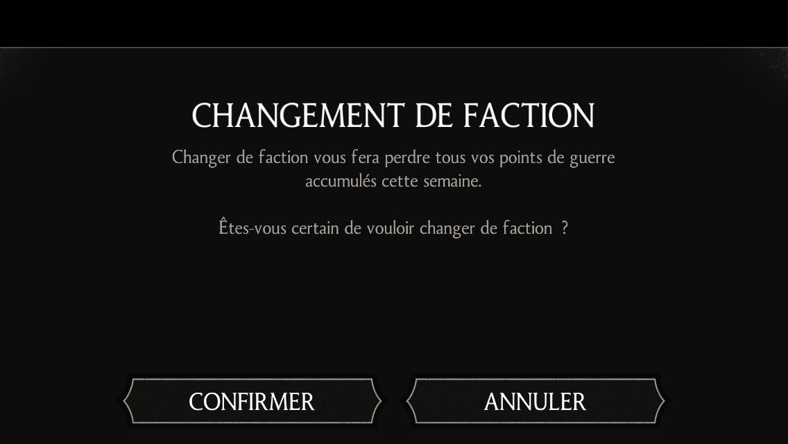 Changement de faction : Perte des points de guerre