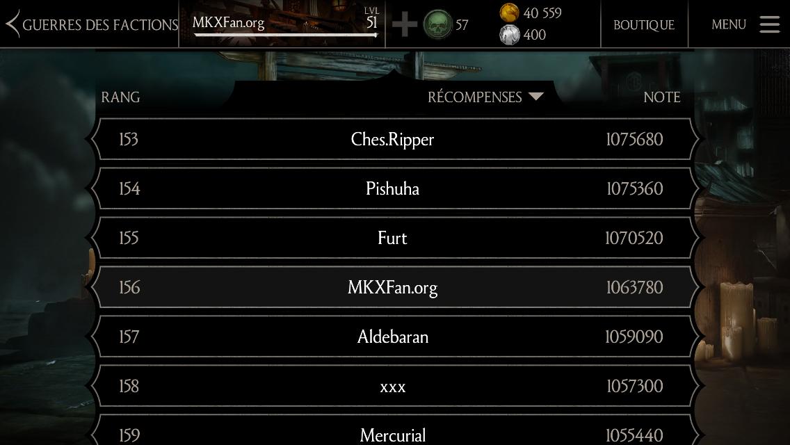 Classement MKXFan.org en Guerres des factions