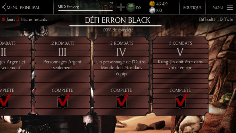 Kombats du défi Erron Black Pistolero : difficulté difficile