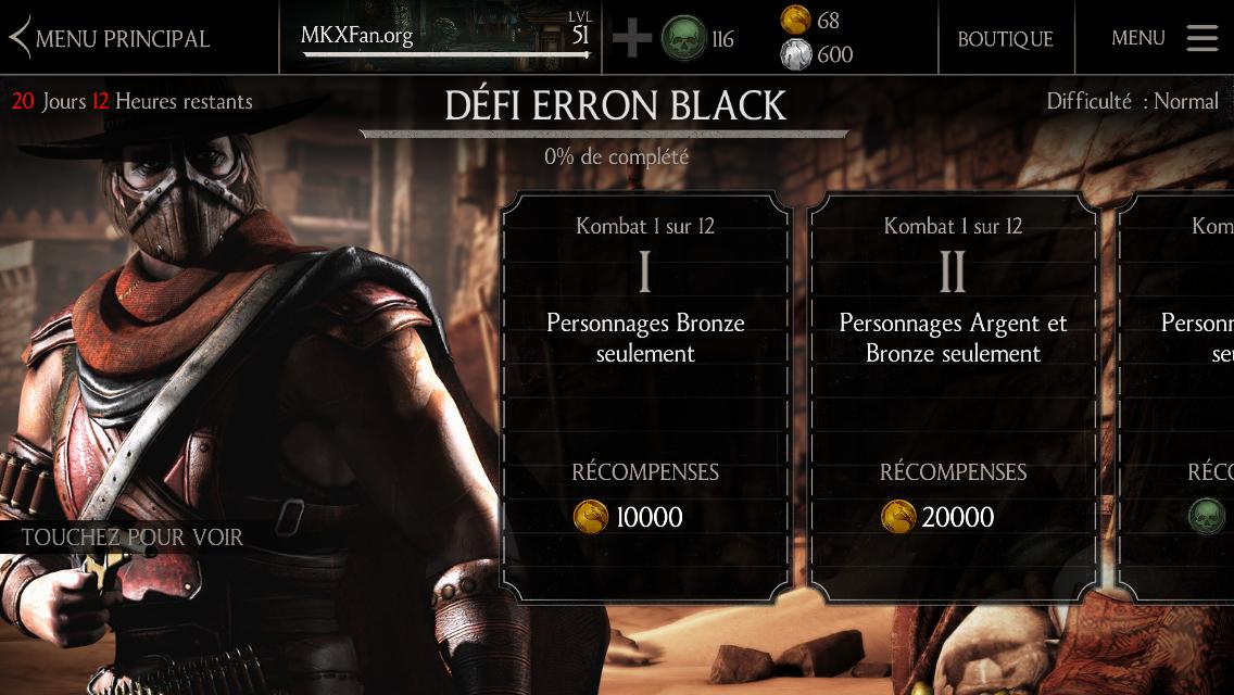Kombats du défi Erron Black Pistolero : difficulté normale
