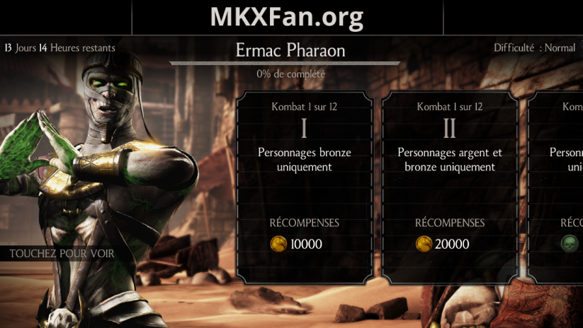 Défi Ermac Pharaon : difficulté normale