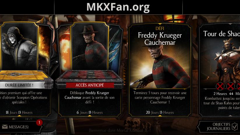 Défi Freddy Krueger Cauchemar : menu principal
