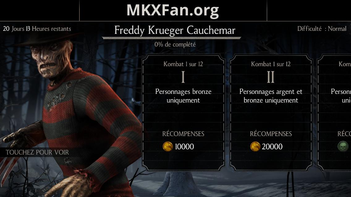 Défi Freddy Krueger Cauchemar : défi mode normal