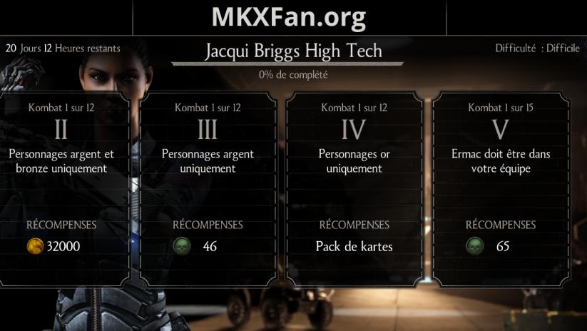 Défi Jacqui Briggs High tech : défi difficile