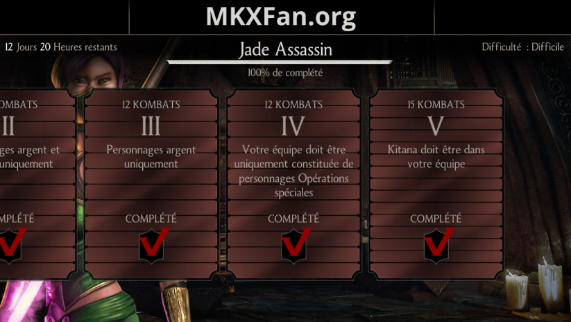 Défi Jade Assassin : mode difficile