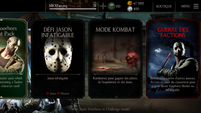 Défi Jason Voorhees Infatigable : Menu principal