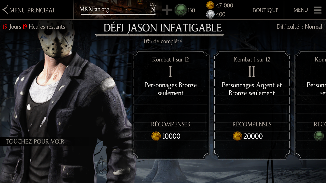 Défi Jason Voorhees Infatigable : Difficulté normale