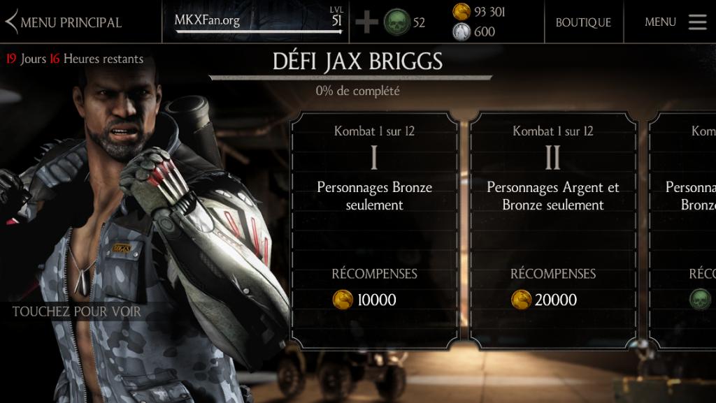 Kombats du Défi Jax Armes lourdes