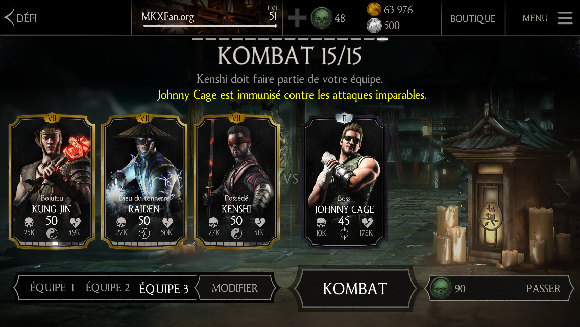 Défi Johnny Cage Chasseur de mort-vivants : kombat final en mode difficile