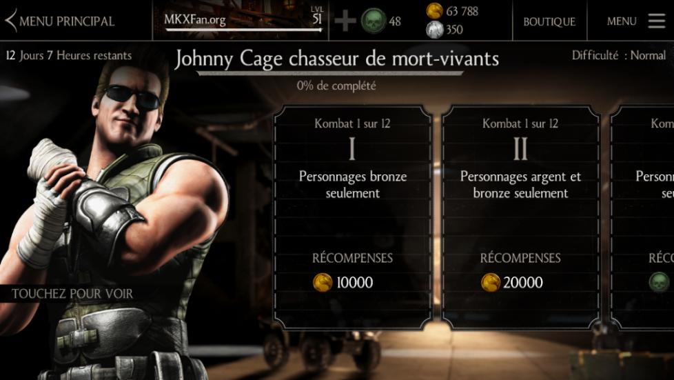 Défi Johnny Cage Chasseur de mort-vivants : difficulté normale