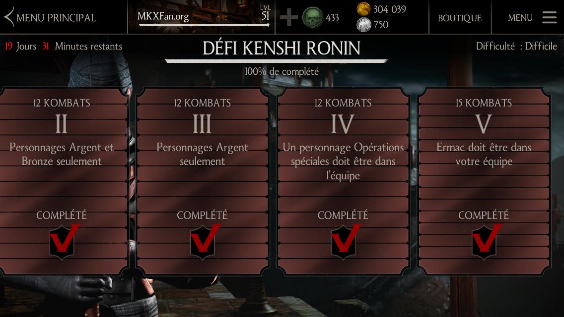 Kombats du défi Kenshi Ronin : difficulté difficile