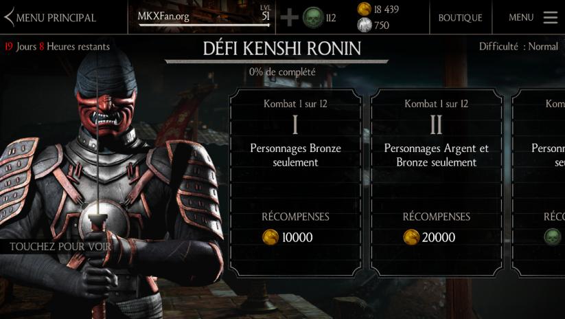Kombats du défi Kenshi Ronin : difficulté normale
