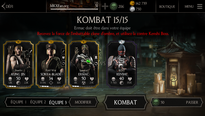 Kombat contre Kenshi Boss : défi normal