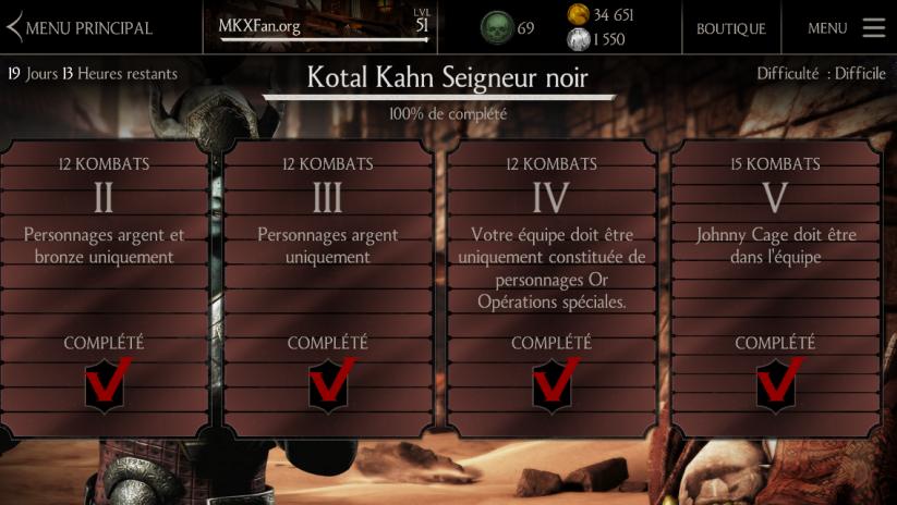 Défi Kotal Kahn Seigneur noir : Défi difficile