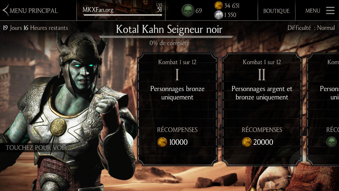 Défi Kotal Kahn Seigneur noir : Défi normal