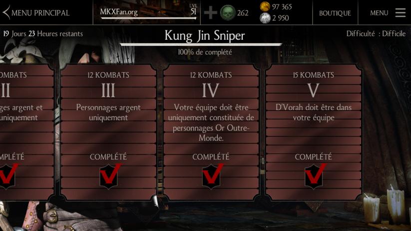 Défi Kung Jin Sniper mode difficile : boss Kung Jin