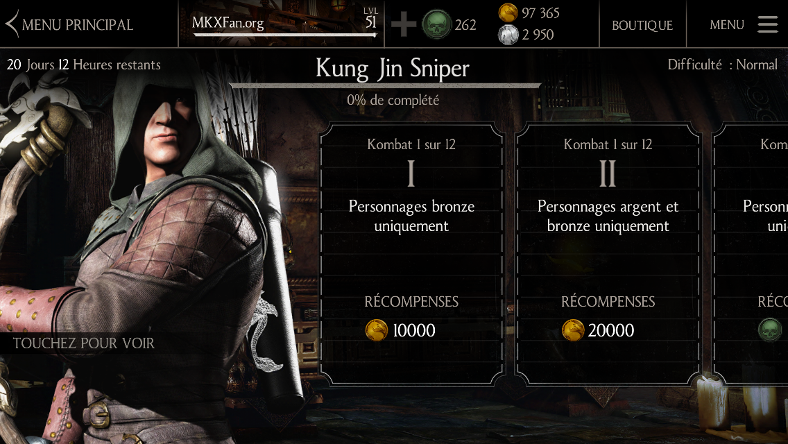 Défi Kung Jin Sniper : Défi normal