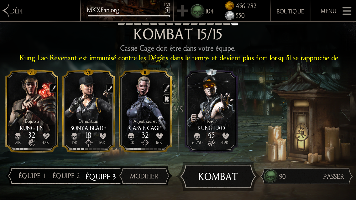 Kung Lao Revenant mode Difficile : boss Kung Lao