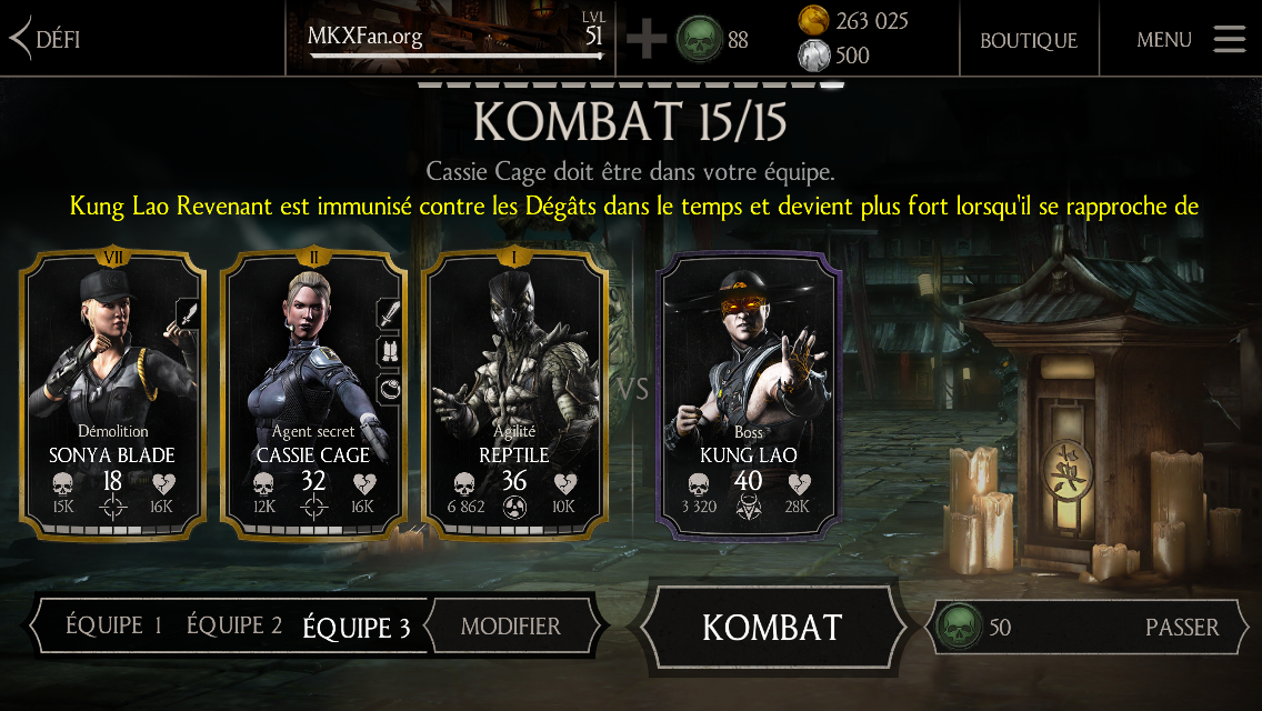 Kung Lao Revenant mode Normal : boss Kung Lao