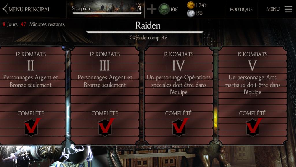Kombats du défi Raiden