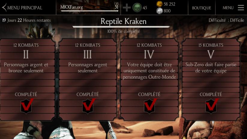 Défi Reptile Kraken : Difficulté difficile
