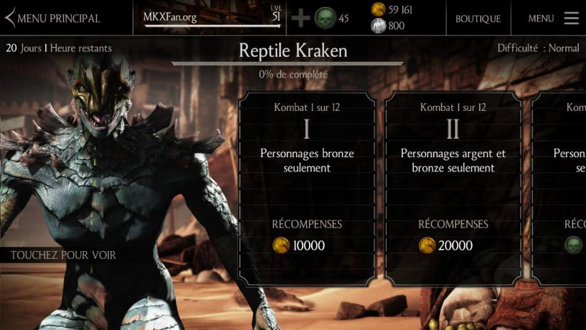 Défi Reptile Kraken : Difficulté normale