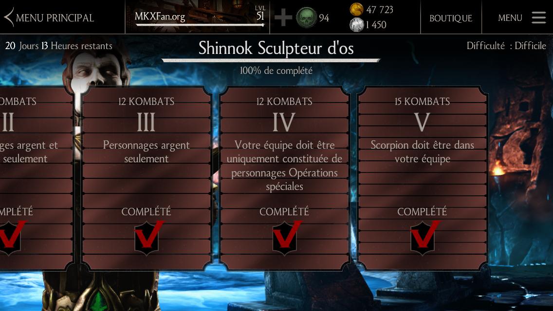 Défi Shinnok Sculpteur d'os : Difficulté difficile