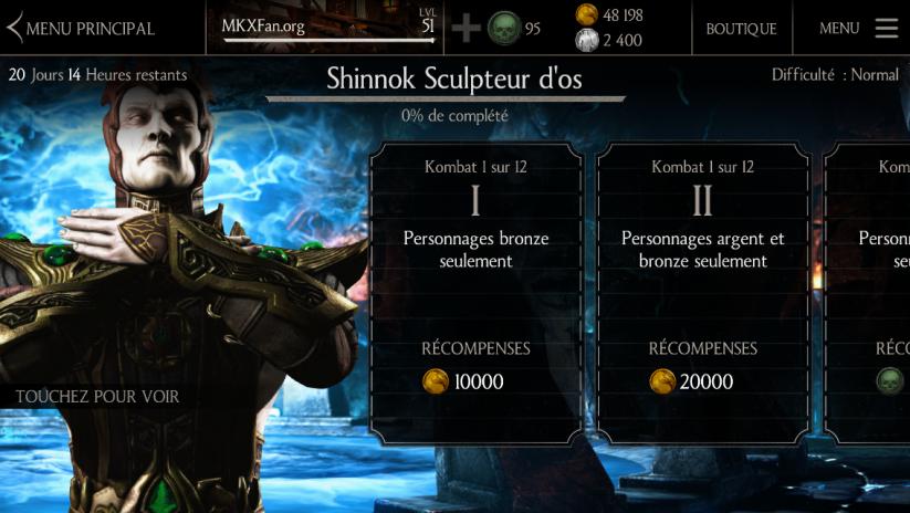 Défi Shinnok Sculpteur d'os : Difficulté normale
