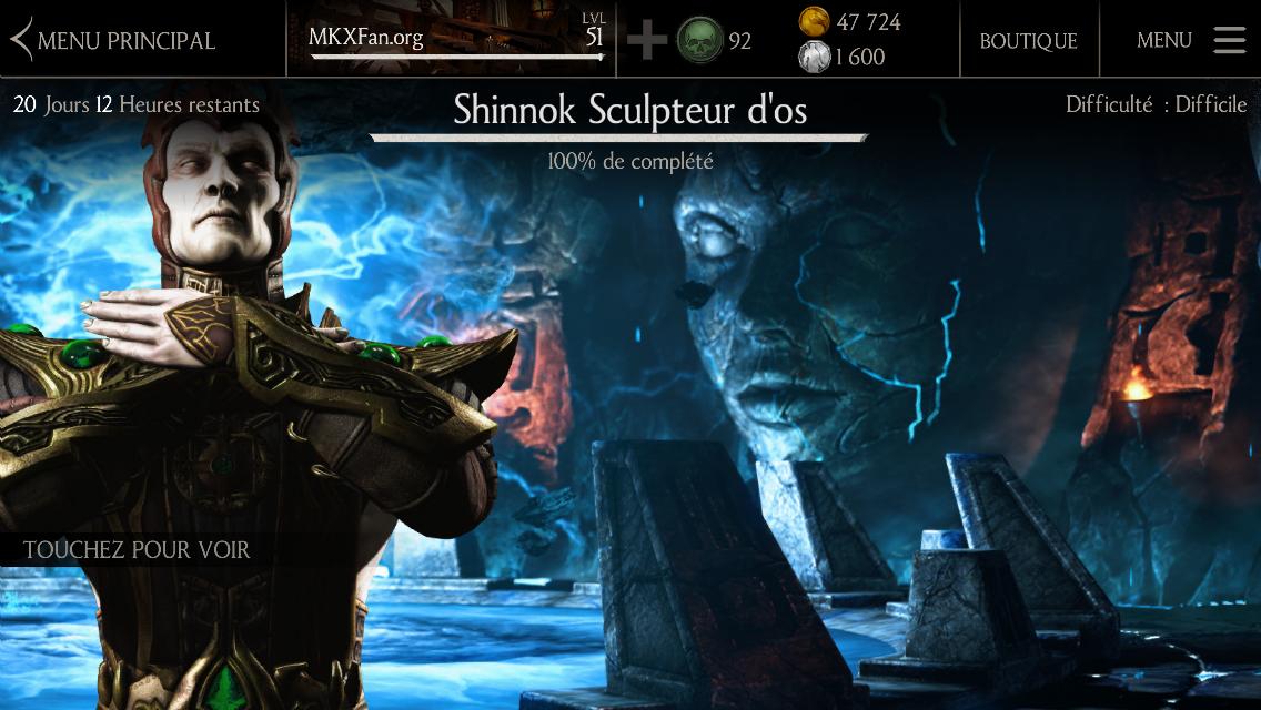 Défi Shinnok Sculpteur d'os