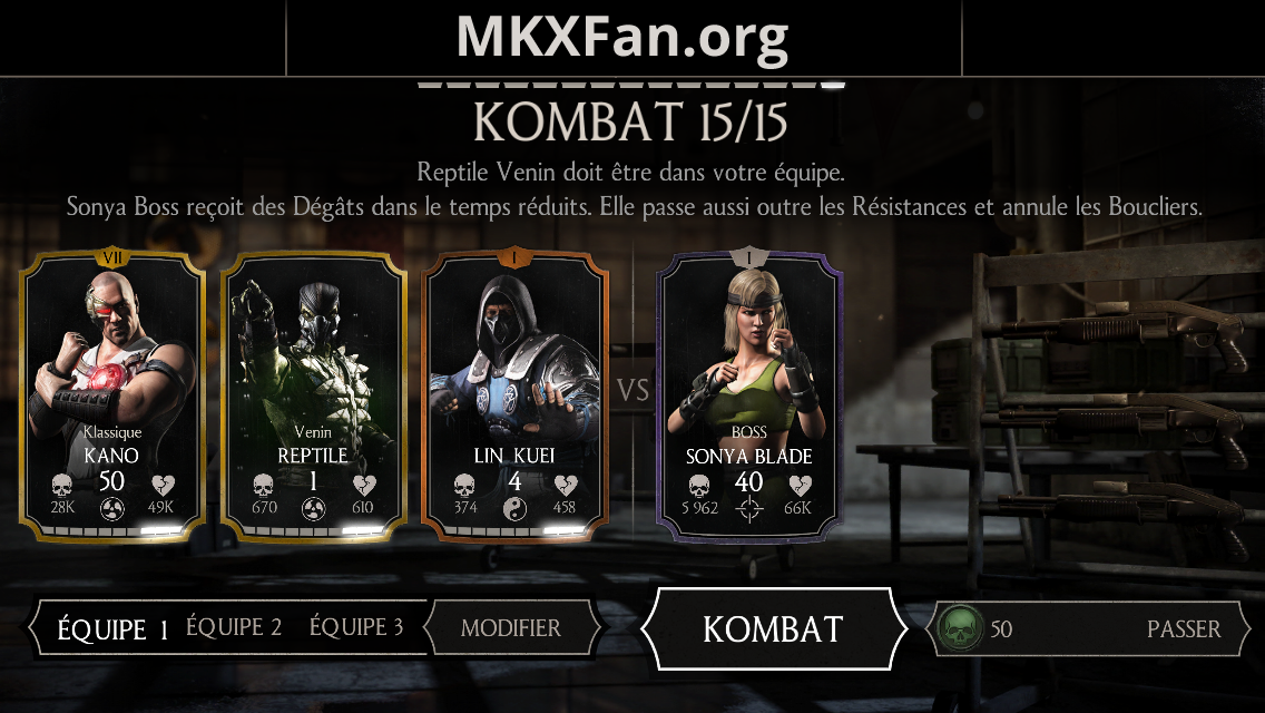 Défi Sonya Blade Klassique : boss en mode normal