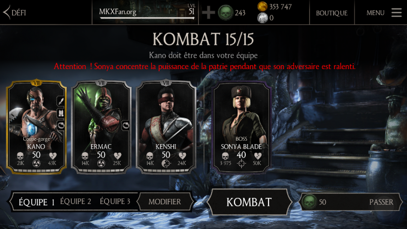 Kombat contre Sonya Kold war : défi normal
