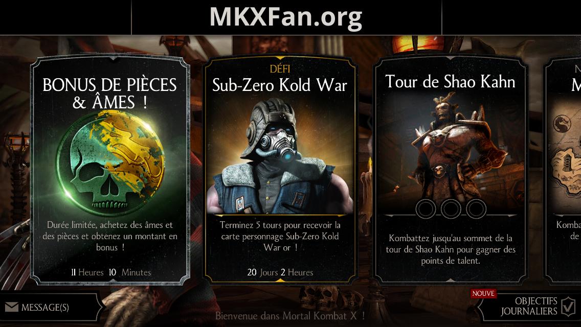 Défi Sub-Zero Kold war : menu principal