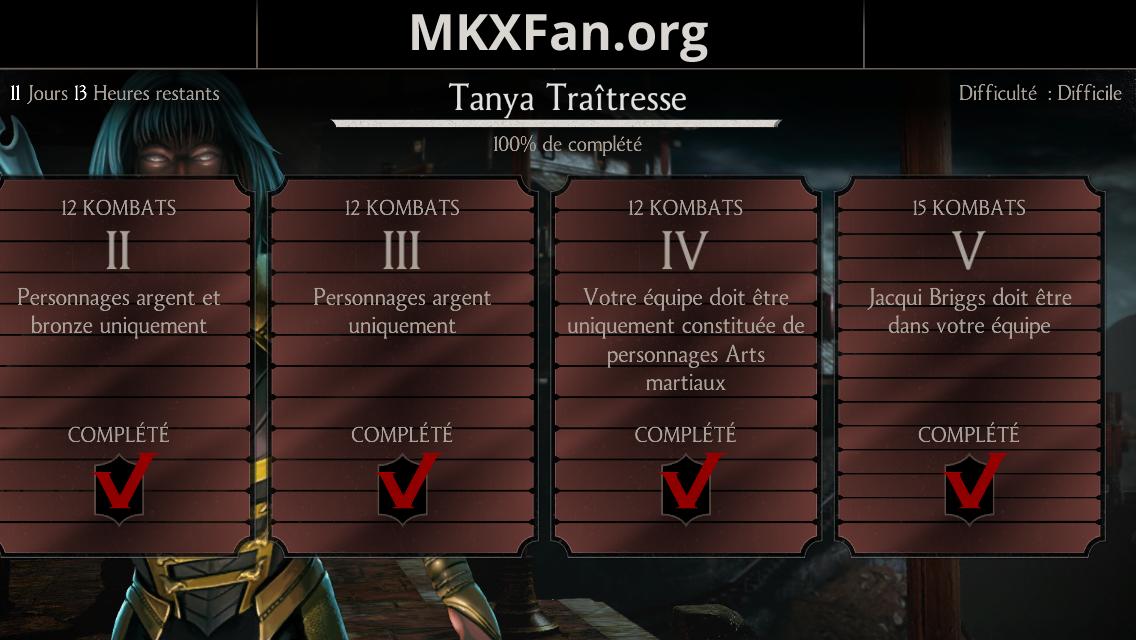 Défi Tanya Traîtresse : mode difficile