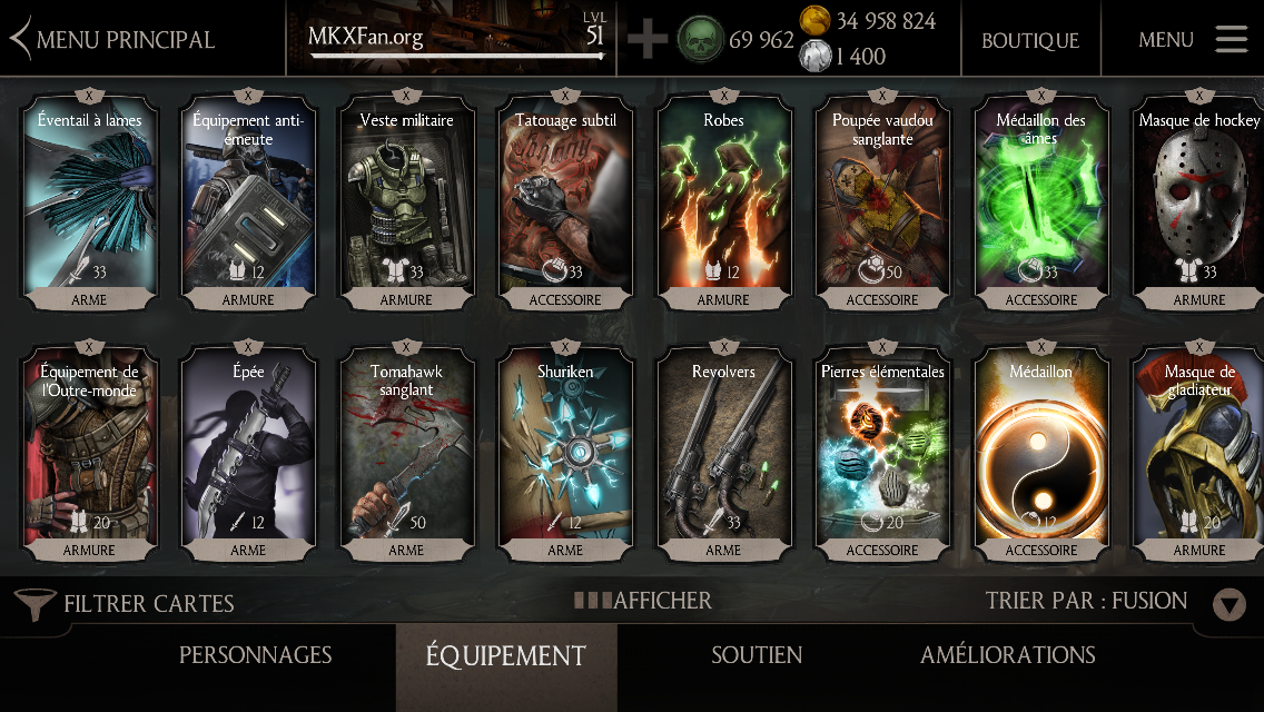 Acheter âmes et pièces Mortal Kombat X