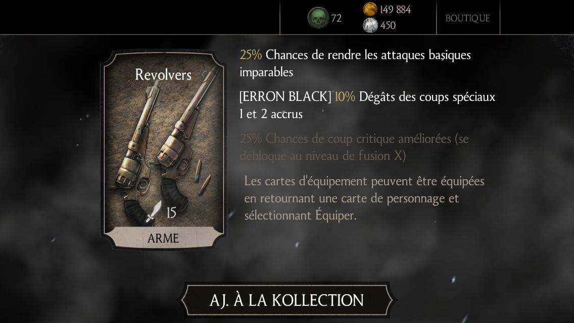 Erron Black Pistolero : carte d'équipement Revolvers