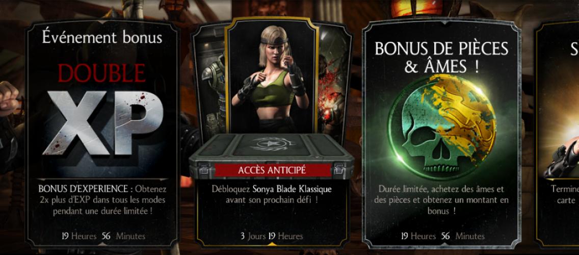 Événements EXP x 2 : Événement bonus double XP + Bonus pièces & âmes