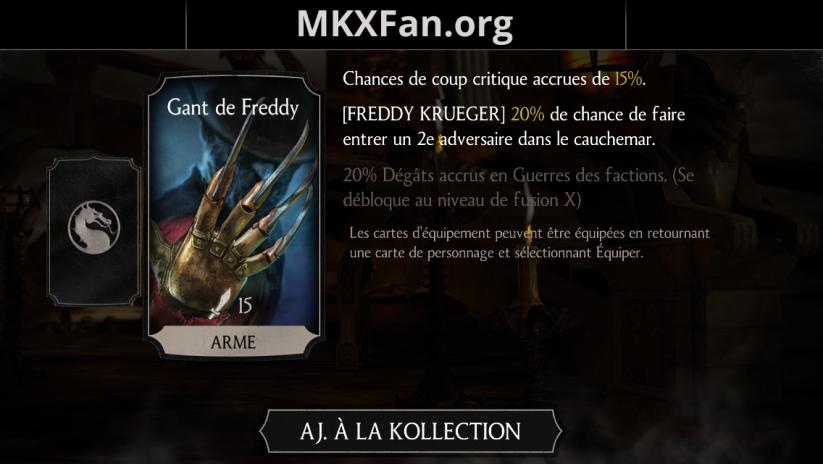 Equipement de Freddy Krueger : gant de Freddy
