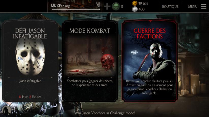 Deuxième Guerre des factions saison Jason Voorhees Slasher : Menu principal