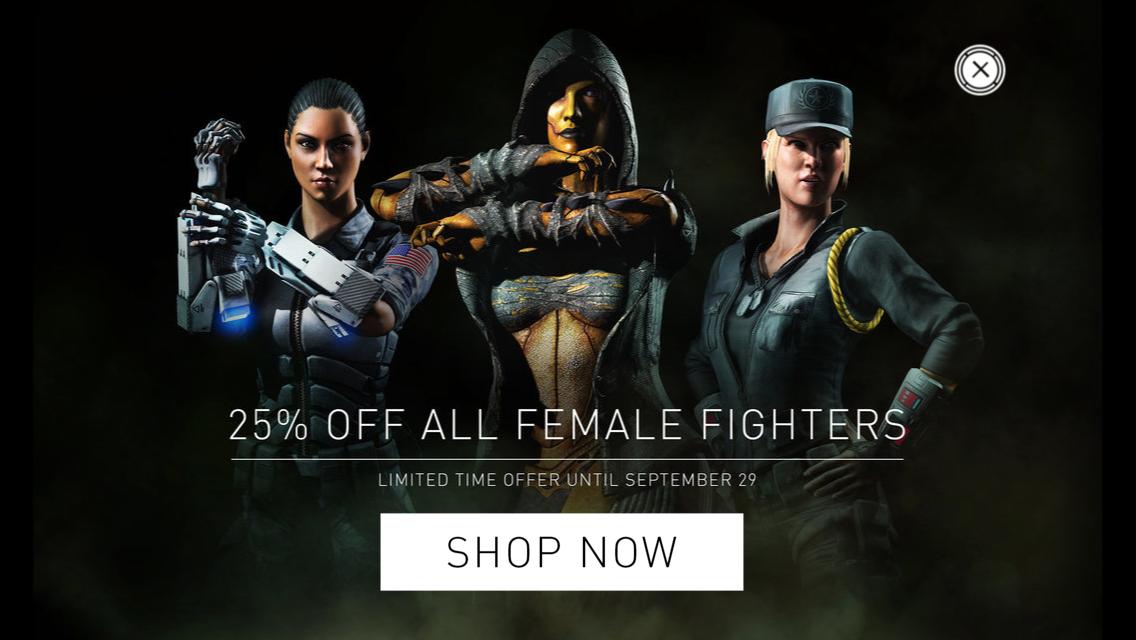 25% de réduction sur tous les personnages féminins