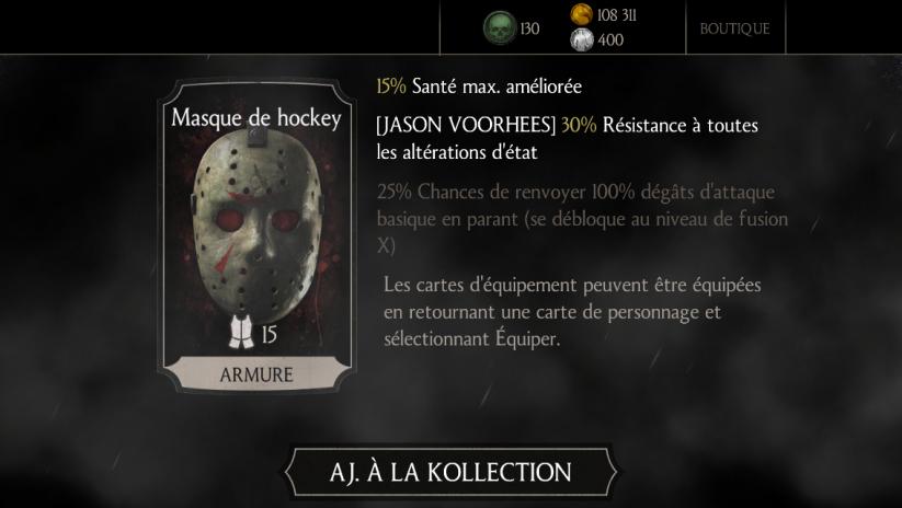 Jason Voorhees : carte d'équipement Masque de hockey
