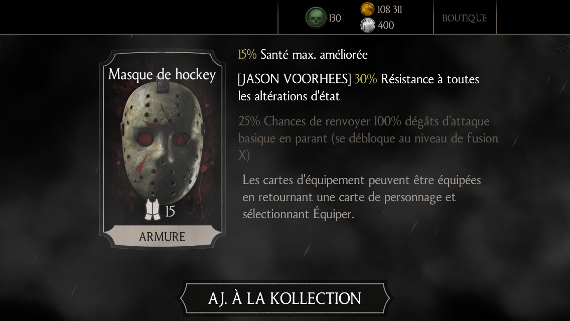 Jason Voorhees : carte d'équipement Masque de hockey
