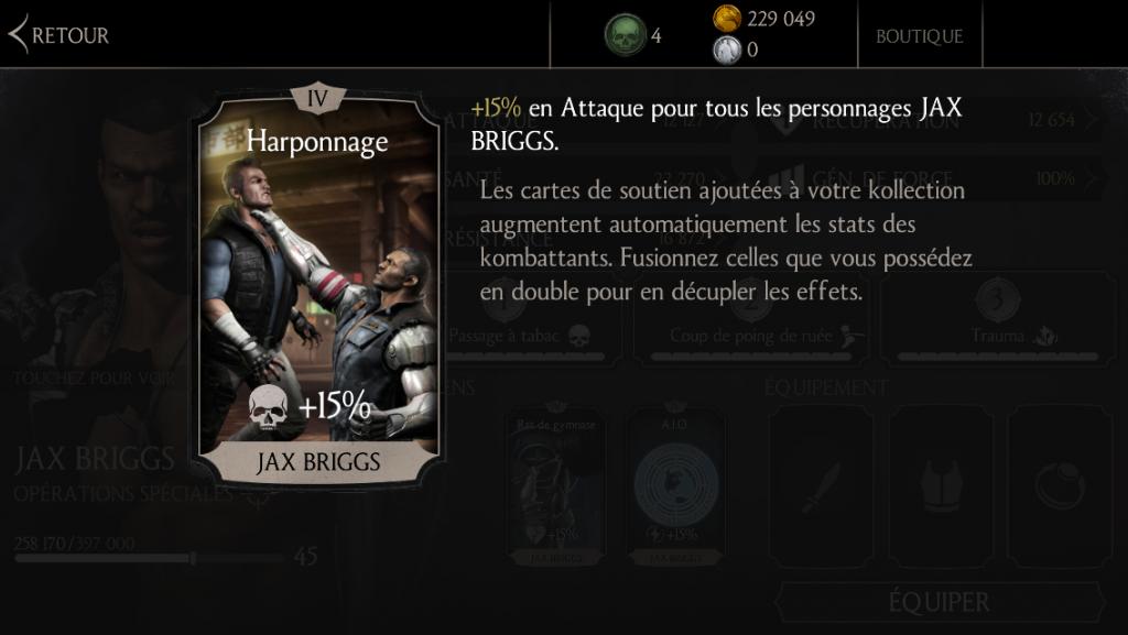 Soutien de Jax en attaque : harponnage