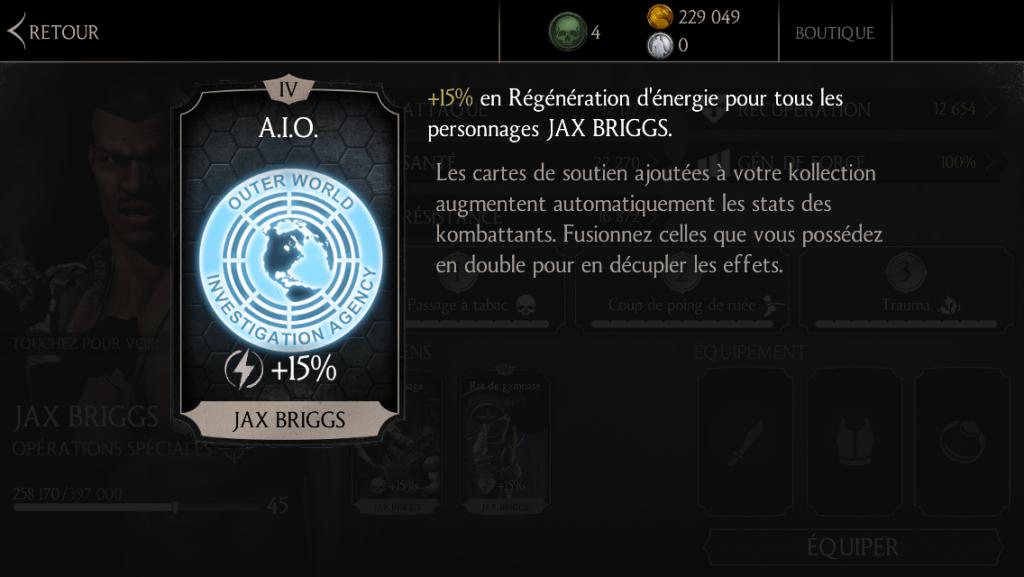 Soutien de Jax en régénération d'énergie : A.I.O.